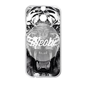 HTC One M8 Cell Phone Case White quotes meow tiger GY9095281