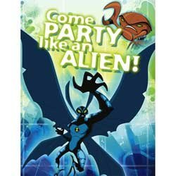 Ben 10 Set of 8 Party Invitations and Envelopes ~ Come Party Like an Alien