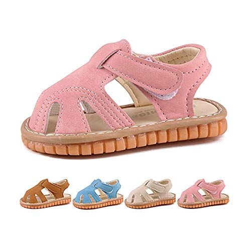 - Baby Boy Girl Summer Infant Squeaky Sandals Premium Rubber Sole Closed-Toe Non-Slip Shoes Toddler First Walkers Pink