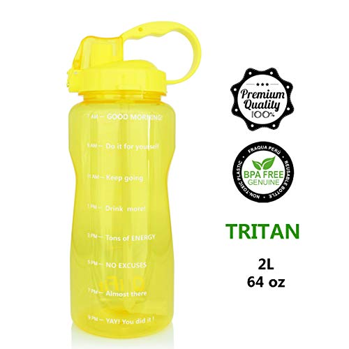 QuiFit 64oz Portable Drinking Straw Daily Water Bottle Sport Water Jug Gallon BPA Free Non Leak Design with Time Marked to Ensure You Drink Enough of Water Throughout The -