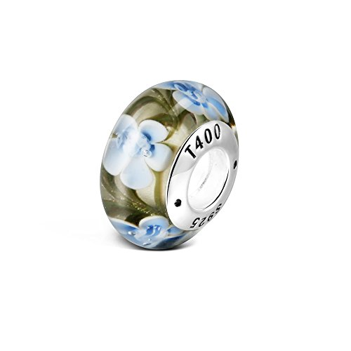 T400 Jewelers 925 Sterling Silver Flower Murano Glass Multicolor Bead Charms Fits Pandora Bracelets (Camouflage)