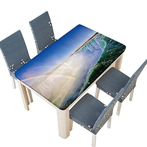 PINAFORE Fitted Polyester Tablecloth Niagara Falls Landscape and Rainbow Wedding Restaurant Party Decoration W61 x L100 INCH (Elastic Edge)]()