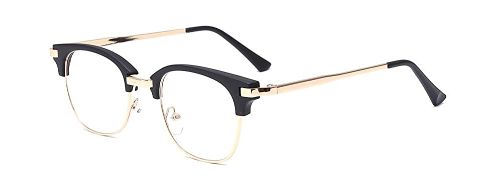 30cd354f5a Amazon.com  ALWAYSUV Retro Metal Semi-Rimless PC Clear Lens Unisex Glasses  Eyewear Black Frame  Shoes