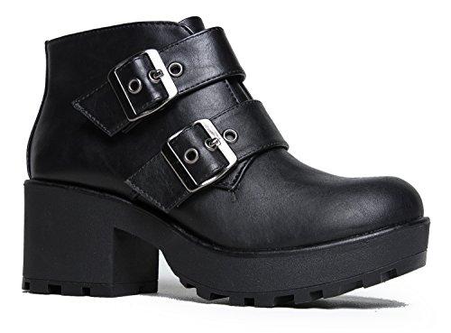Black Buckle Biker Boots - 5