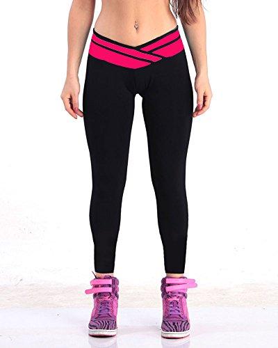Jogging damen hose sport Schwarz/Rosa Stretch Leggings lange Strumpfhosen jogginghose,L