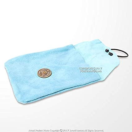 Medieval Genuine Dark Blue Suede Leather Belt Pouch Satchel Bag