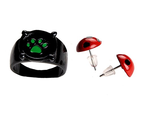 Ring Earrings for Cat Noir Cosplay Ladybug -