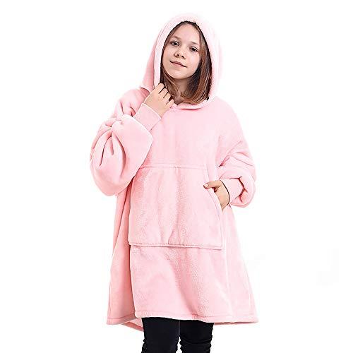 EJOYDUTY Oversize Kids Wearable deken Hoodie voor meisjes jongens, gooi dekens Sweatshirt met mouwen en zak voor…