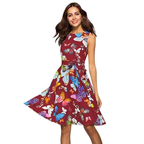 ☆HebeTop Women Butterfly Print Button Up Split Flowy Party Maxi Dress Red