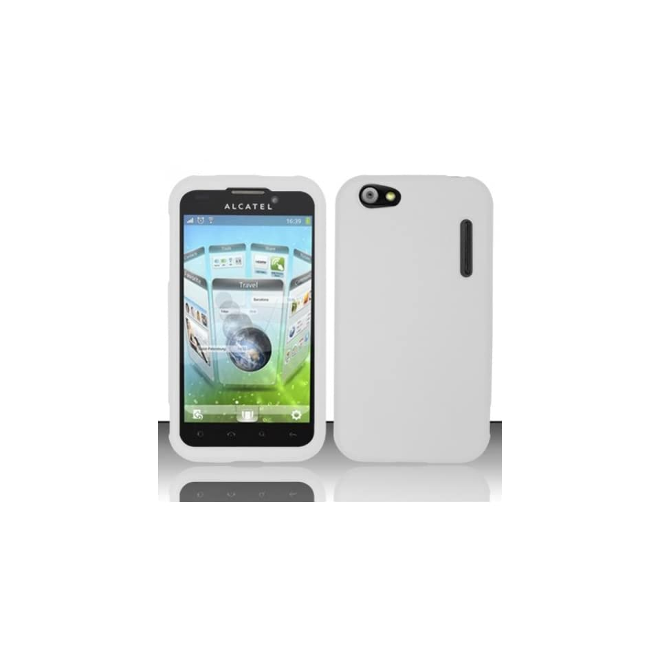 Alcatel One Touch Ultra 995 Case Nice White Hard Cover Protector with Free Car Charger + Gift Box By Tech Accessories