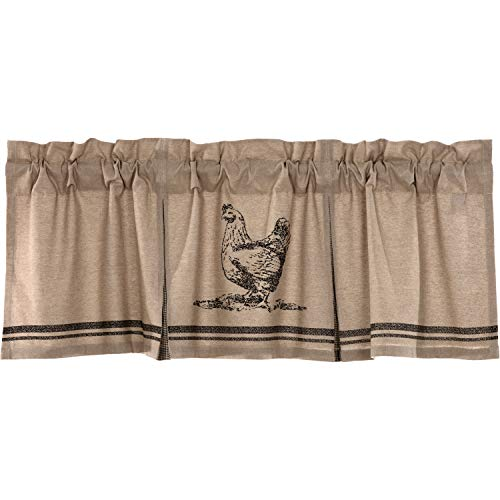 VHC Brands Farmhouse Kitchen Curtains Sawyer Mill Chicken Rod Pocket Cotton Hanging Loops Stenciled Chambray Nature Print 20x60 Valance Charcoal Khaki Tan ()