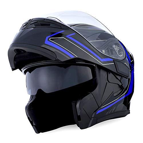 (1Storm Motorcycle Modular Full Face Helmet Flip up Dual Visor Sun Shield: HB89 Arrow Blue)