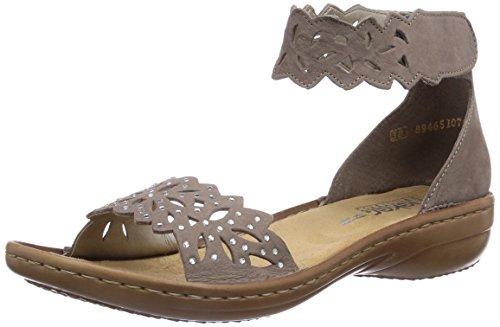 Rieker 608h5, Women's Ankle Strap Sandals Gray - Grau (Mineral / 42)