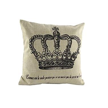 Hatop Home Decorative Linen Cotton Square Pillowcase Vintage Paris King Crown Throw Pillow Cushion Cover