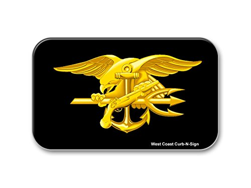 West Coast Curb-N-Sign Reflective Vinyl Car Sticker, 3X5in (Navy Seals)