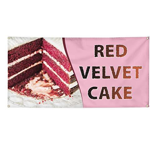 Vinyl Banner Sign Red Velvet Cake Restaurant & Food Outdoor Marketing Advertising Pink - 56inx140in (Multiple Sizes Available), 10 Grommets, Set of -