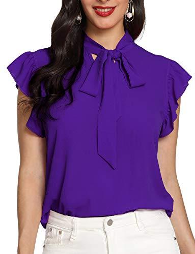 Romwe Women's Bow Tie Neck Short Sleeve Casual Office Work Chiffon Blouse Shirts Tops Purple L