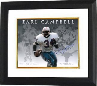 Signed Earl Campbell Photo - Texas Longhorns 16X20 Custom Framed Career Collage Heisman HOF) - Autographed NFL Photos