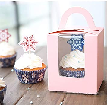 20Pcs Cupcake Muffin Fairy Cake Box Clear Window Container with Handle Party Gift (Blue) J.Zlegend YYC-001