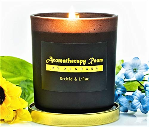 Aromatherapy Stress Relief Scented Soy Wax Candle - Natural Organic 10% Fregrance, 50 Hours Clean Burn, Fresh, Floral Scent, Orchid Lilac, Best for Gift, Relaxation, Home Decora