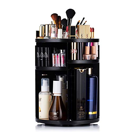 Vedusal Makeup Organizer, 360 Degree Rotating Adjustable  Detachable Makeup Holder, Large Capacity Cosmetics Storage Drawers Display Box For Dresser, Bedroom, Bathroom (Black)