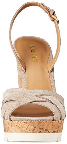 Nine West Kindeyes sandalia de la cuña del ante Taupe Suede