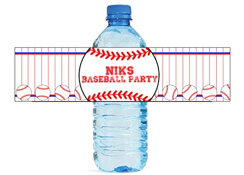 Baseball Party Water Bottle Labels Great for Birthday party Little League (Labels Baseball)