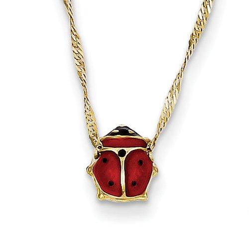 (14k Gold Enameled Ladybug Necklace Pendant-Necklaces)