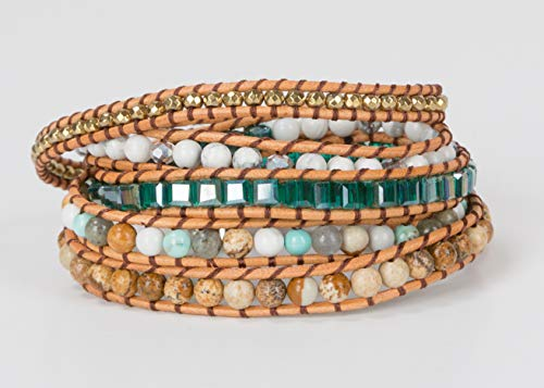 SPUNKYsoul New! Dazzling Handmade Leather Wrap Bracelet Collection (5 Wrap Teal Camel)