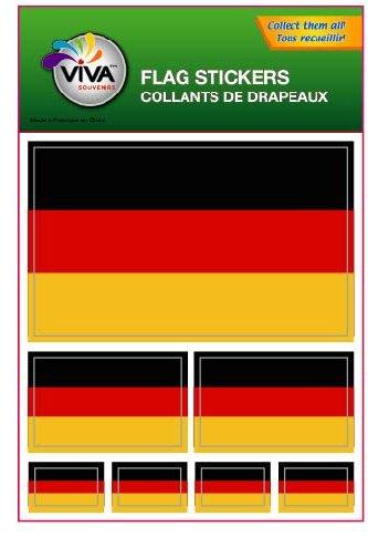 Set of 7 Vinyl Car Stickers, 3 Sizes - Germany Flag