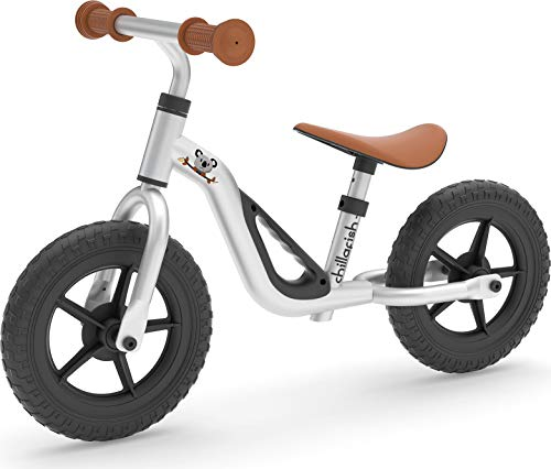 Chillafish Charlie Lightweight Toddler Balance Bike, Cute Balance Trainer for 18-48 Months, Learn to Bike with 10″ inch no-Puncture Wheels, Adjustable seat and Carry Handle., Silver