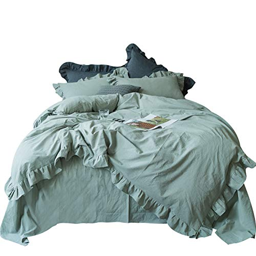 SUSYBAO 3 Pieces Vintage Ruffle Duvet Cover Set 100% Washed Cotton Queen Size Sage Green Rural Princess Lace Bedding with Zipper Ties 1 French Country Style Duvet Cover 2 Pillow Shams Soft Breathable
