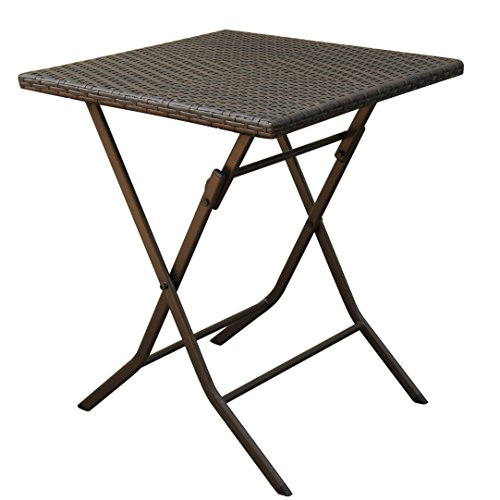 Reno Solid Acacia Wood Coffee Table: PATIOROMA 3 PCS Outdoor Wicker Rattan Steel Folding Table