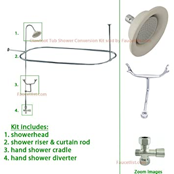 Chrome Clawfoot Tub Shower Conversion Kit with Enclosure Curtain