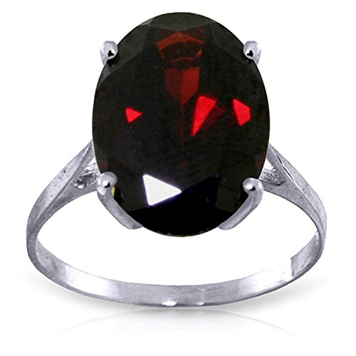- Galaxy Gold 14K Solid White Gold Solitaire Ring 6 Carat Oval Natural Garnet (8.5)