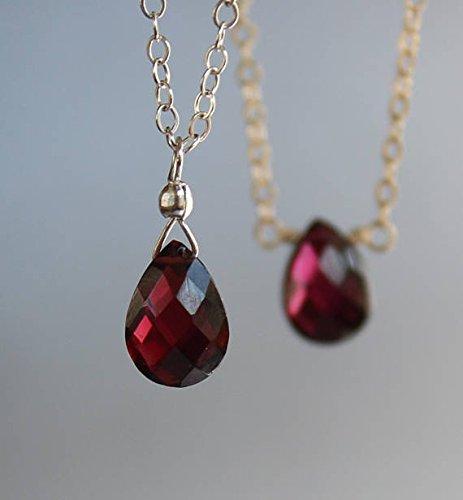 Petite Garnet Necklace, Garnet Necklace, January Birthstone, Dainty Gemstone necklace, Deep Red Garnet Necklace, Garnet Briolette Necklace 9 x 7 x 2 mm (Briolette Garnet)