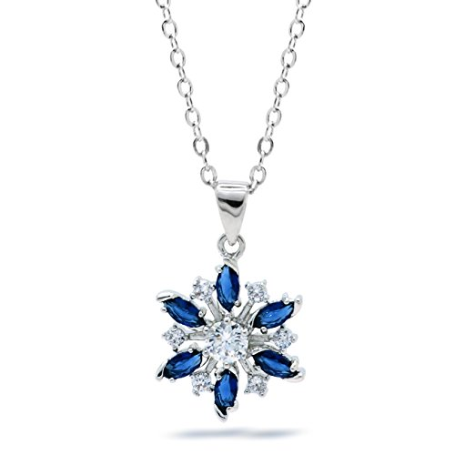 Blue Snowflake Pendant Necklace Holiday Christmas CZ Women Fashion, Chain 18-inch