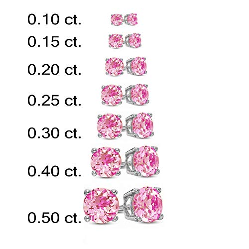 14k Rare Pink Rose - Round Cut Simulated Pink Sapphire Earring in 14K Rose Gold