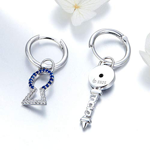 The Kiss Locks And Key Lucky Dangle 925 Sterling Silver Earrings