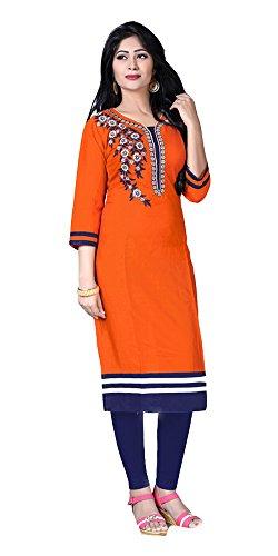 Jayayamala Damen-Orangen-Baumwoll-U-Ausschnitt MultiColor gestickte Tunika-Oberteil