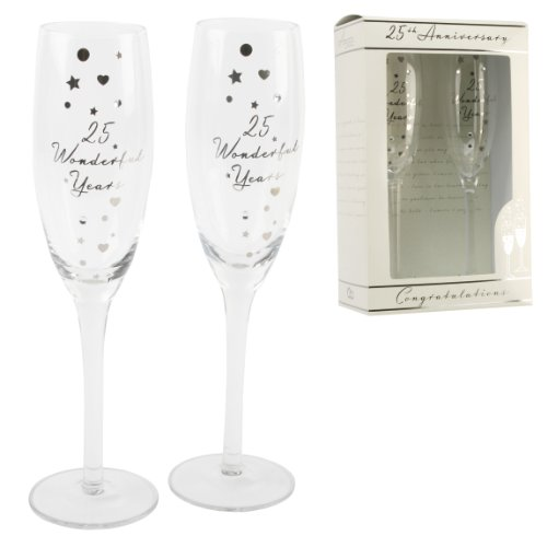 25th Anniversary Champagne - Personalised Amore 25th Silver Anniversary Champagne Glass Flute in Gift Box G31225 - Add Your Own Message