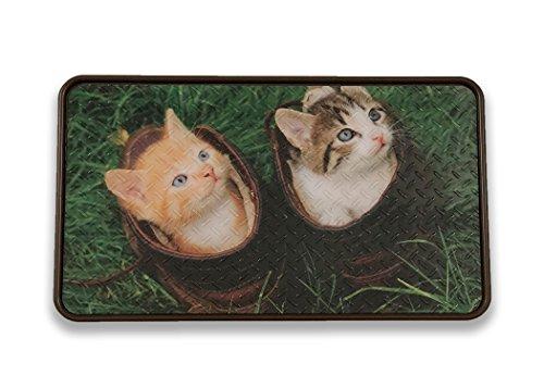 Resilia - Brown/Kittens Floor Mat for Dog Bowls, Cat Litter,