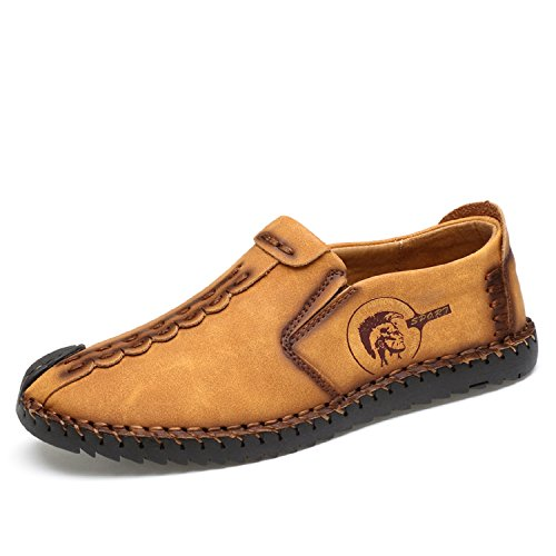 (TQGOLD Mens Casual Leather Loafers Handmade Slip-On Comfortable Moccasins Shoes Driving Fashion US 5.5-12(Size 41, Golden) )