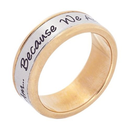 Stainless Steel Rose Gold My Sister I Am Because We Are Poesy Ring ()