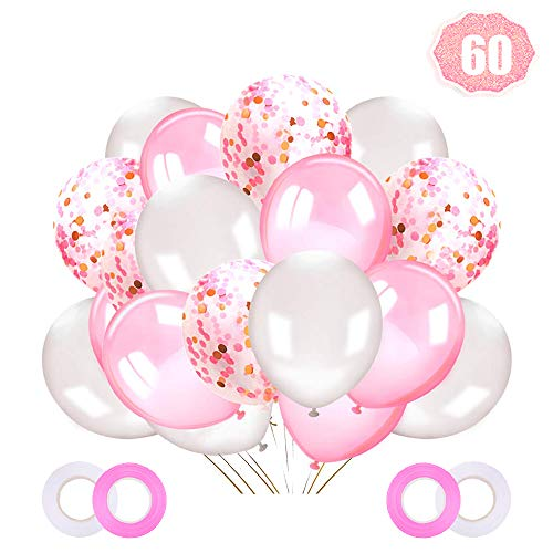 LAKIND Confetti Balloons Pink,60 Pieces 12 Inches Pink and White Balloons Latex Helium Balloons Party Supplies for Wedding Birthday Girl Baby Shower Party Decoration(60pcs)
