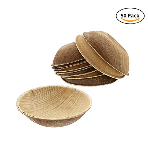 CaterEco Round Palm Leaf Bowl Set (Pack of 50) | Appetizer or Dessert Bowls | Ecofriendly Disposable Dinnerware | Heavy Duty Biodegradable Party Utensils for Wedding, Camping & More