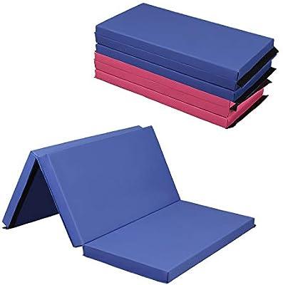 "4/'x6/'x2/"" Folding Gymnastics Mat Tumbling Training Exercise Mat 4 Panel Purple"