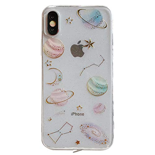 (Soft TPU Transparent Galaxy Case for Apple iPhone XS Max 6.5 Slim Clear Crystal Shockproof Shock Proof Smooth Sleek Fit Fun Unique Cute Chic Stars Starry Sky Stylish Bling Cool Girls Teens Kids)