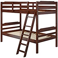 Manhattan Comfort Hayden 3.0 Collection Solid Pine Wood Twin Size Convertible Childrens Bunk Bed Set, Twin, Matte Brown