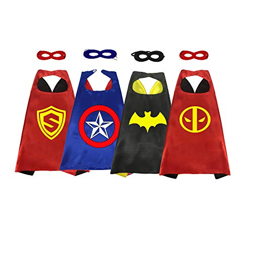 Ranavy Hero Capes And Masks Bulk Set Dress Up for Kids Superhero Party Birthday Party Costumes (4PCS BOY) -